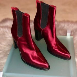 Cesare Casadei Burgundy Satin Booties